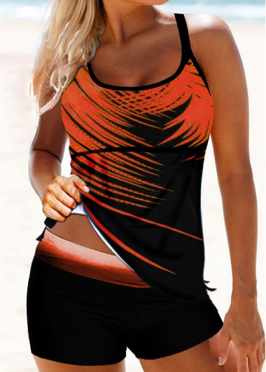Women'S Coral Orange Spaghetti Strap Palm Leaf Print Tankini Swimsuit Two Piece Padded Wire Free Bathing Suit By Rosewe - L