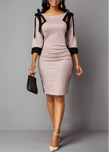 Women'S Dusty Pink Three Quarter Sleeve Sheath Elegant Knee Length Dress Tie Shoulder Zipper Back Work Dress By Rosewe - L
