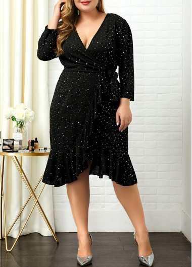 Women'S Black Sequin Plus Size Cocktail Party Dress Long Sleeve V Neck Elegant Midi Dress By Rosewe - 0X