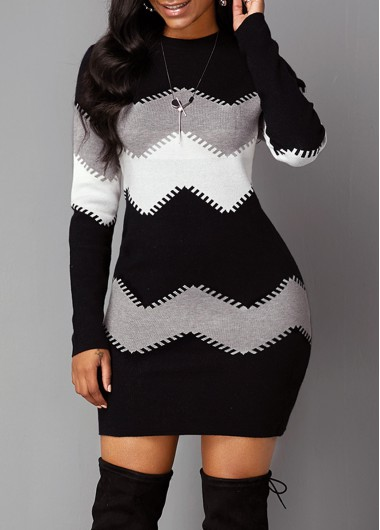 Women'S Black And White Long Sleeve Sheath Sweater Dress Color Block Chevron Pattern Mock Neck Mini Cocktail Party Dress By Rosewe - L