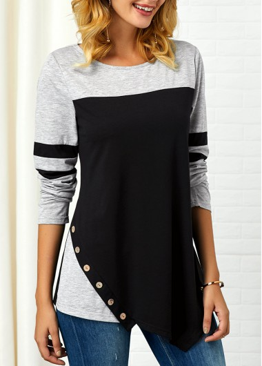 Button Detail Asymmetric Hem Long Sleeve T Shirt - XXL