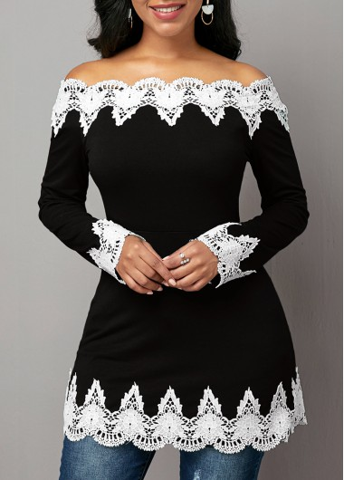 Women'S Black And White Off The Shoulder Long Sleeve T Shirt Crochet Embellished Casual Top By Rosewe - M