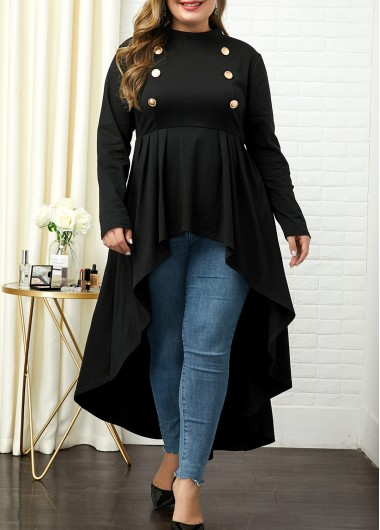 Women'S Black Plus Size High Low Tunic Long Sleeve T Shirt Mock Neck Button Detail Longline Casual Top By Rosewe - 0X