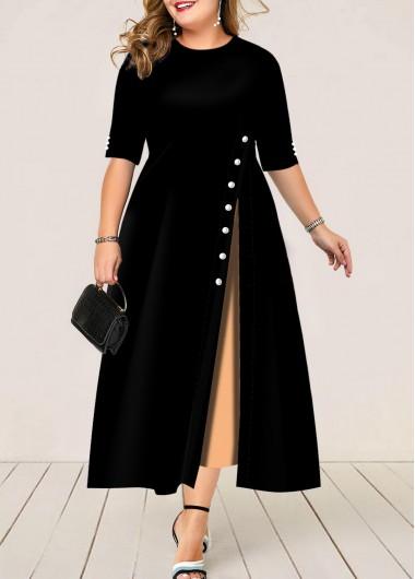 Button Detail Plus Size Half Sleeve Maxi Dress