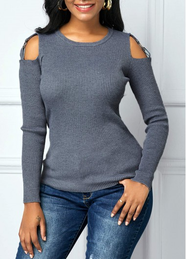 Cutout Shoulder Long Sleeve Round Neck Sweater