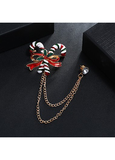 Mother's Day Gifts Gold Metal Rhinestone Embellished Candy Cane Shape Brooch - One Size