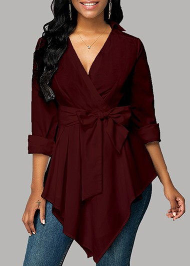 Women'S Wine Red V Neck Long Sleeve Asymmetric Hem Blouse Solid Color Longline Tunic Casual Fall Top By Rosewe - M