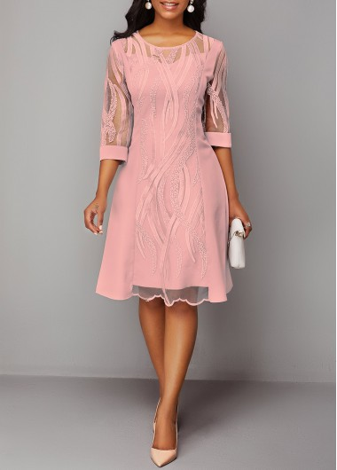 Women'S Pink Lace Three Quarter Sleeve Sheath Cocktail Party Dress Solid Color Illusion Midi Round Neck Dress By Rosewe - M