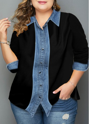 Women'S Black Plus Size Button Up Tunic Shirt Long Sleeve Turndown Collar Casual Fall Top By Rosewe - 0X