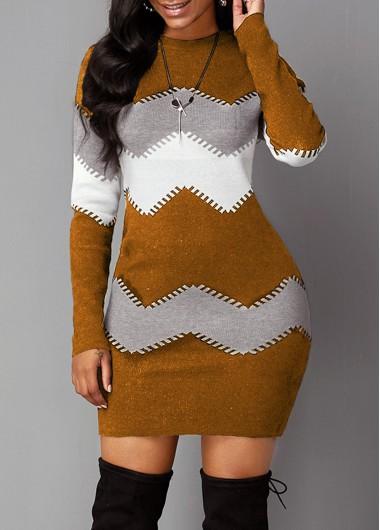 Women'S Brown Chevron Pattern Long Sleeve Mock Neck Sweater Dress Long Sleeve Sheath Cocktail Party Mini Dress By Rosewe - M