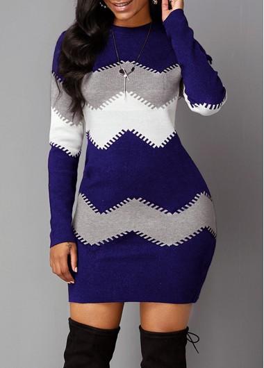 Women'S Navy Blue Chevron Pattern Long Sleeve Sheath Dress Mock Neck Printed Mini Casual Dress By Rosewe - XL