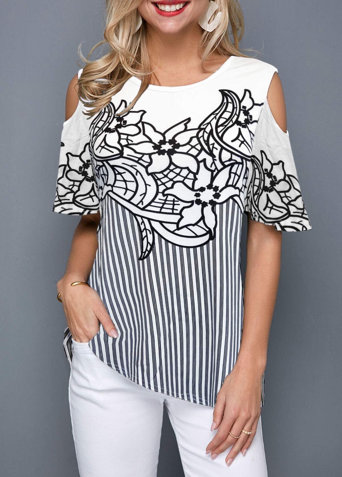 Cold Shoulder Striped Flower Print Blouse