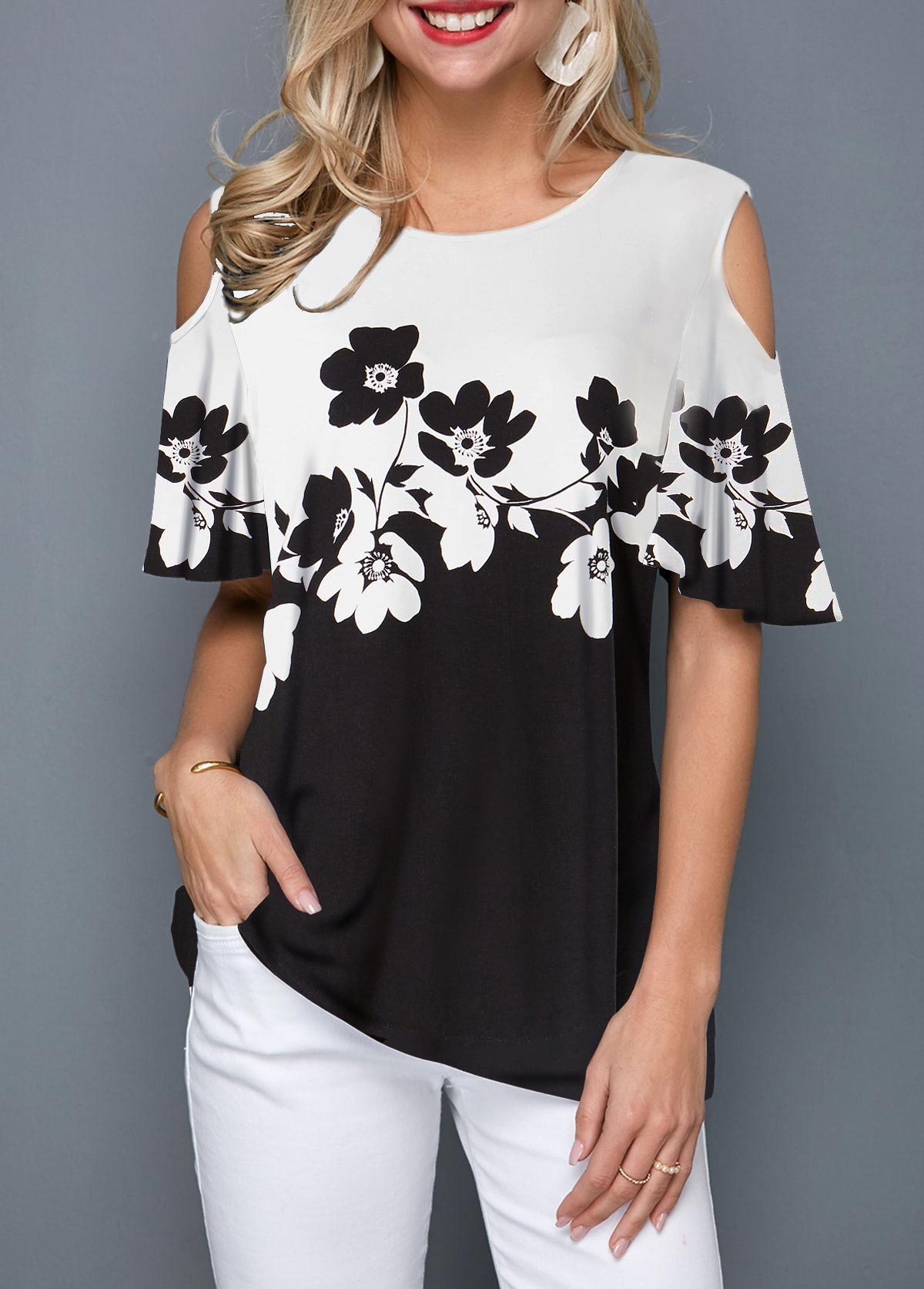 Flower Print Half Sleeve Cold Shoulder T Shirt