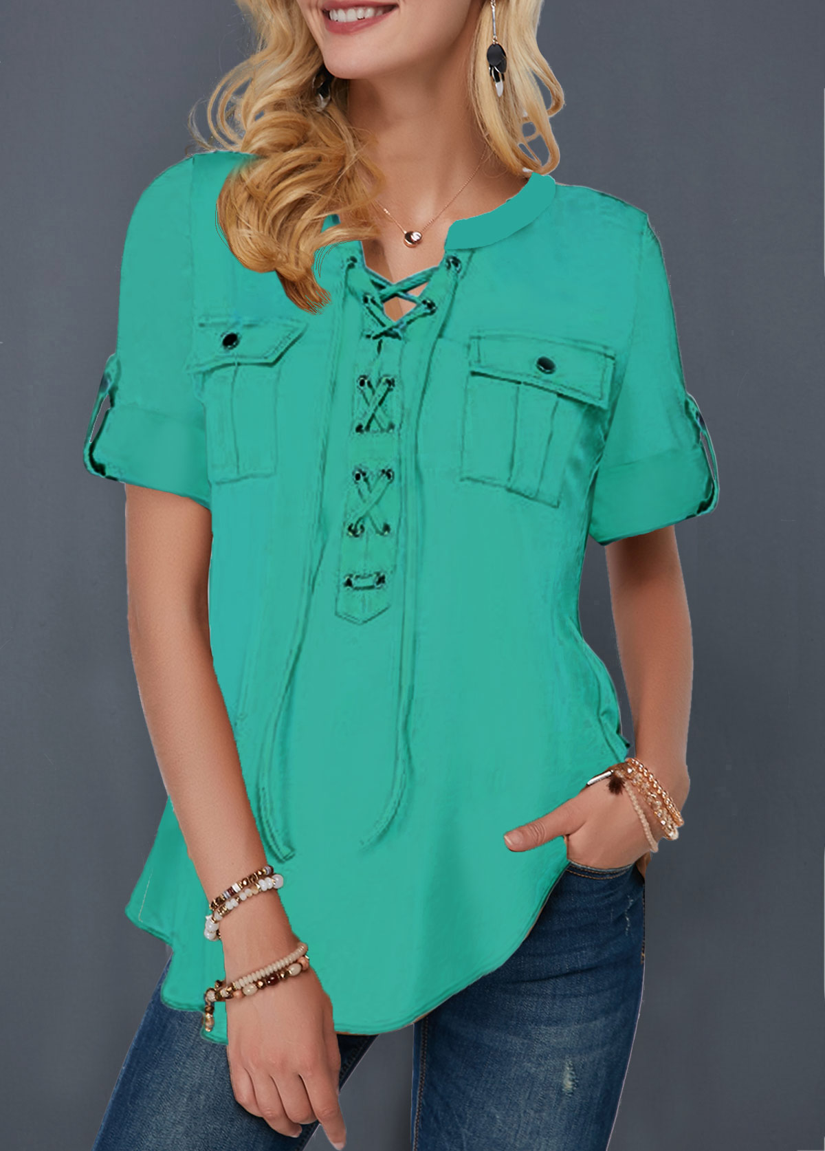 Roll Tab Sleeve Lace Up Front Blouse