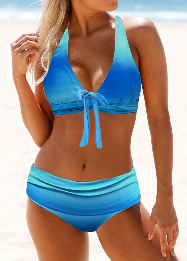 Bowknot Detail Plunging Neck Bikini Set