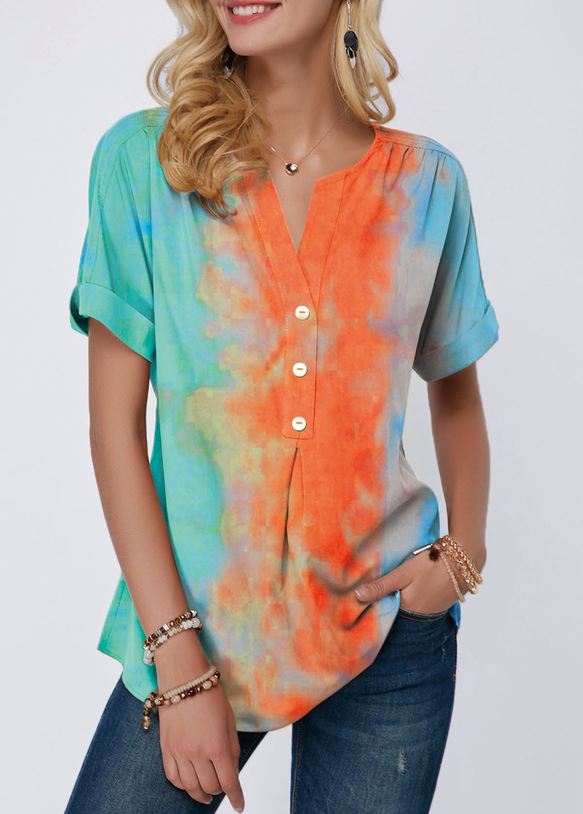 Tie Dye Print Split Neck Button Detail T Shirt