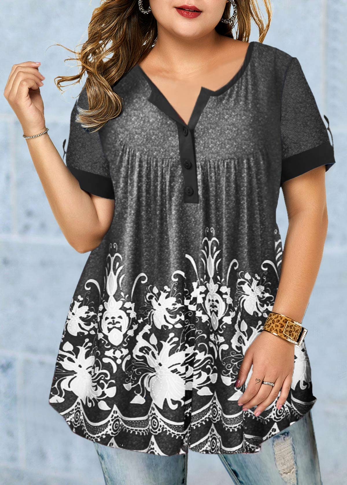 Printed Short Sleeve Button Detail Plus Size Blouse