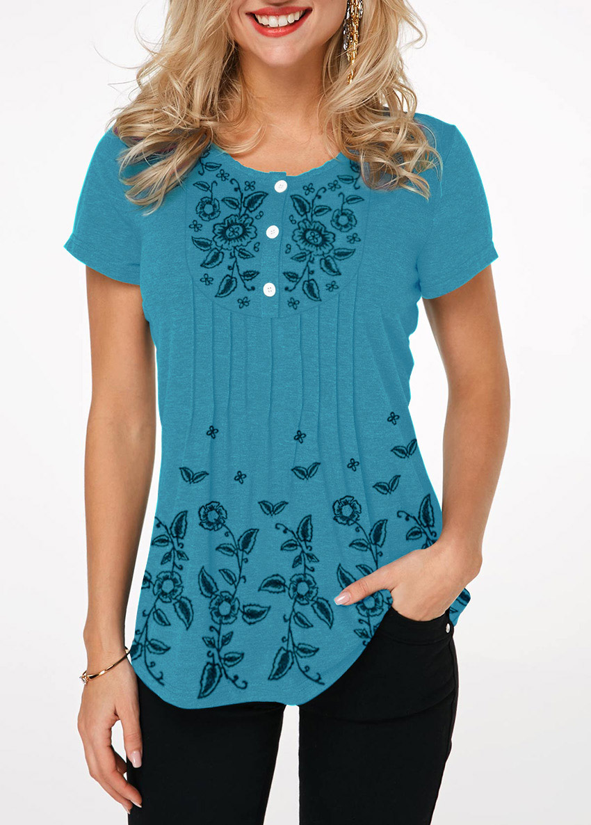 Printed Button Front Crinkle Chest T Shirt