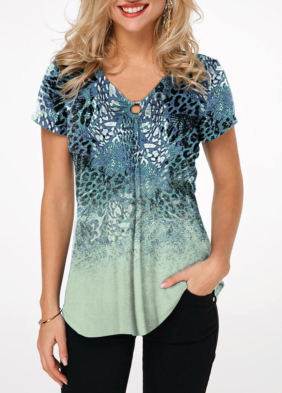 Ring Detail V Neck Leopard Print T Shirt