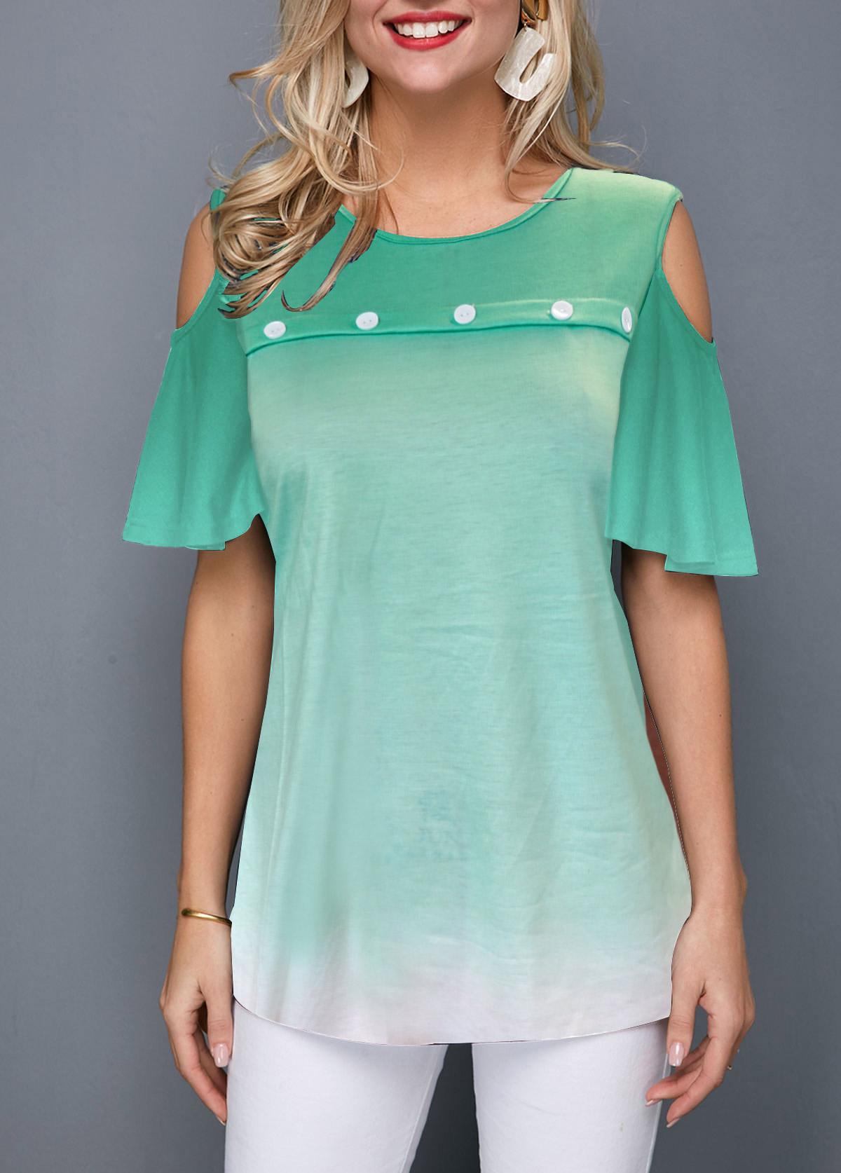 Gradient Cold Shoulder Button Front T Shirt