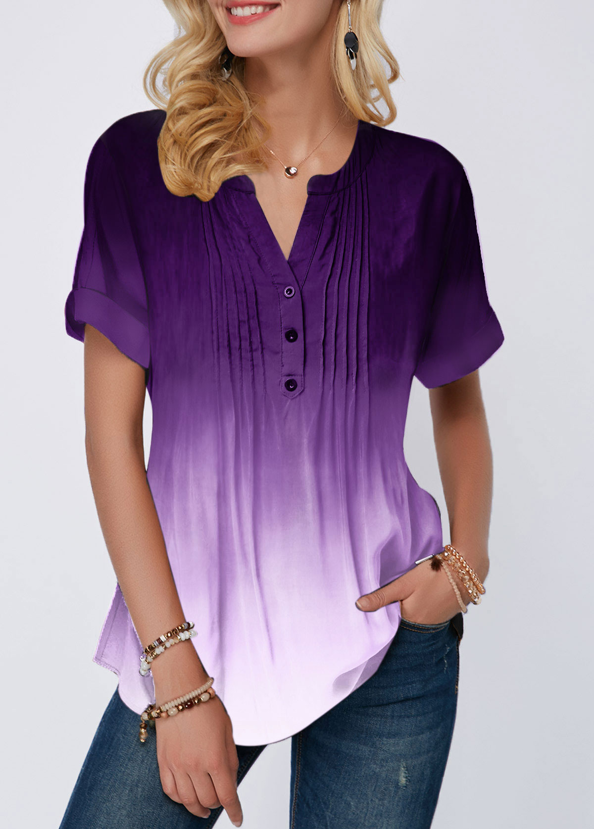 Gradient Crinkle Chest Button Detail Split Neck Blouse