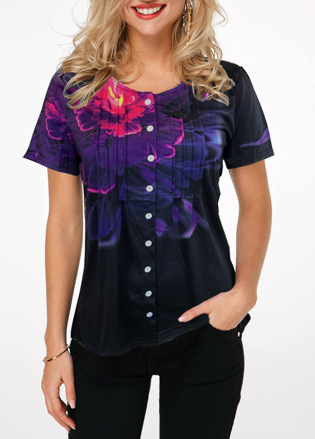 Button Up Crinkle Chest Flower Print T Shirt