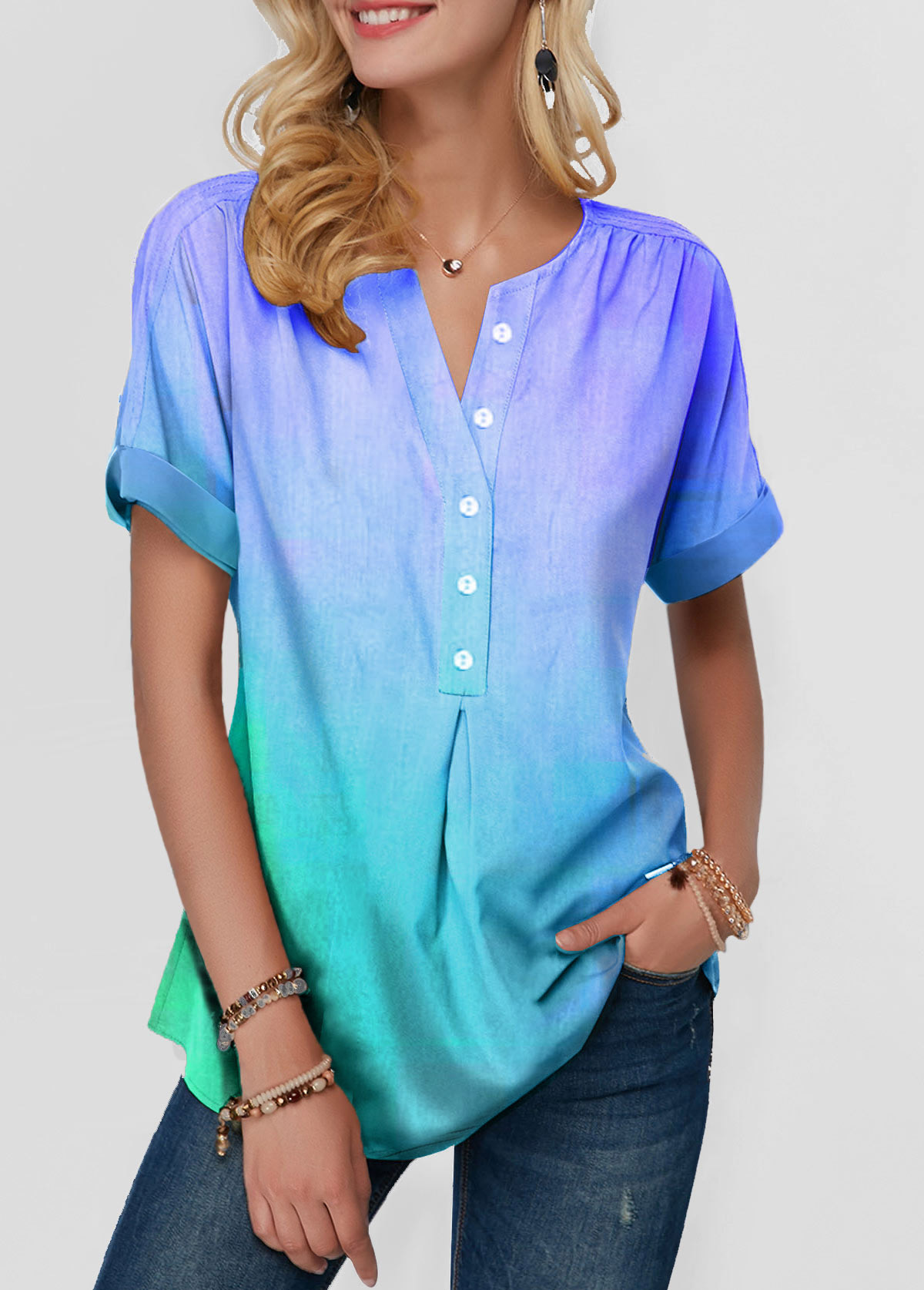 Curved Hem Short Sleeve Button Front Blouse