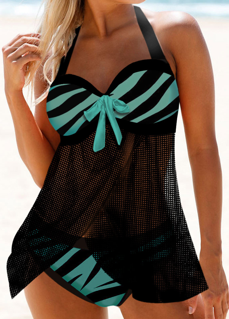 Halter Zebra Print Bowknot Detail Swimdress and Panty