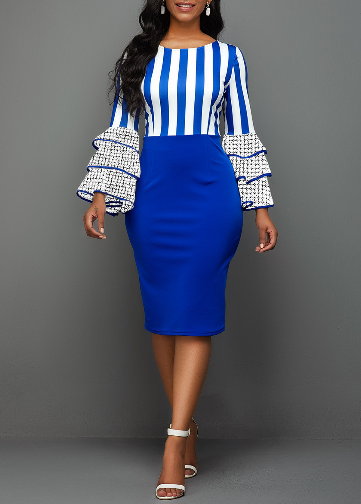 Side Zipper Stripe Print Layered Bell Sleeve Sheath Dress