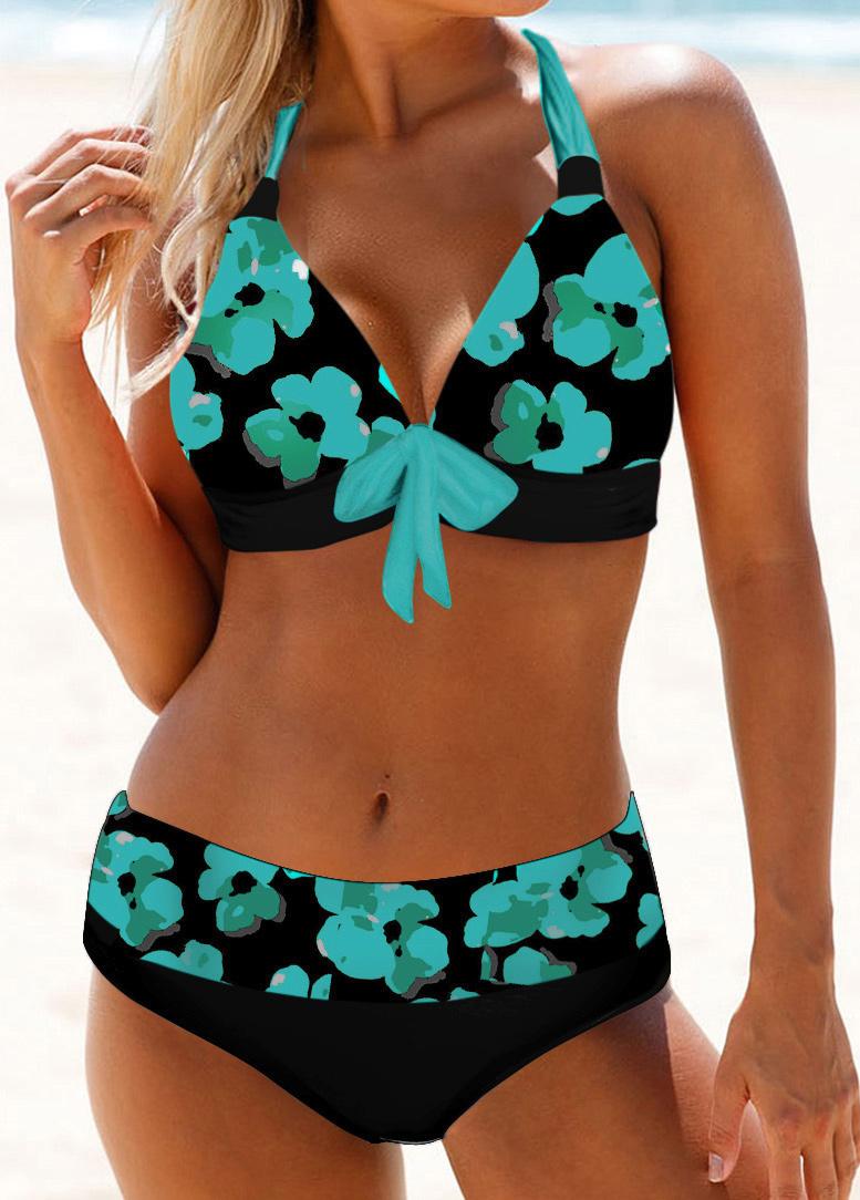 Floral Print Halter Neck Bowknot Detail Bikini Set