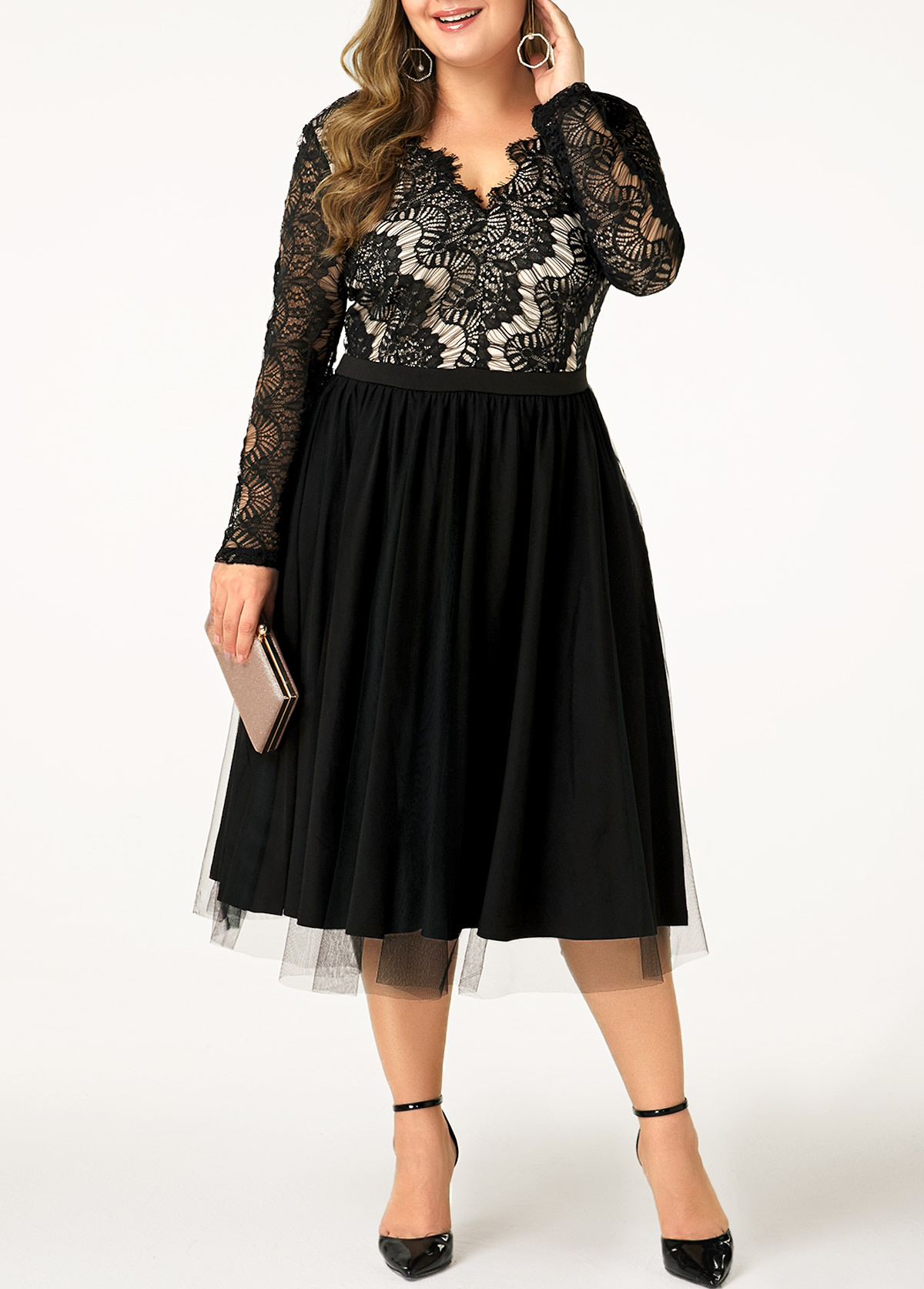 Lace Panel Plus Size Back Zipper Dress