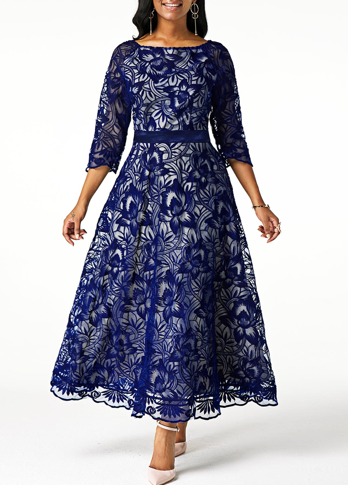 Back Zipper Three Quarter Sleeve Navy Blue Lace Dress