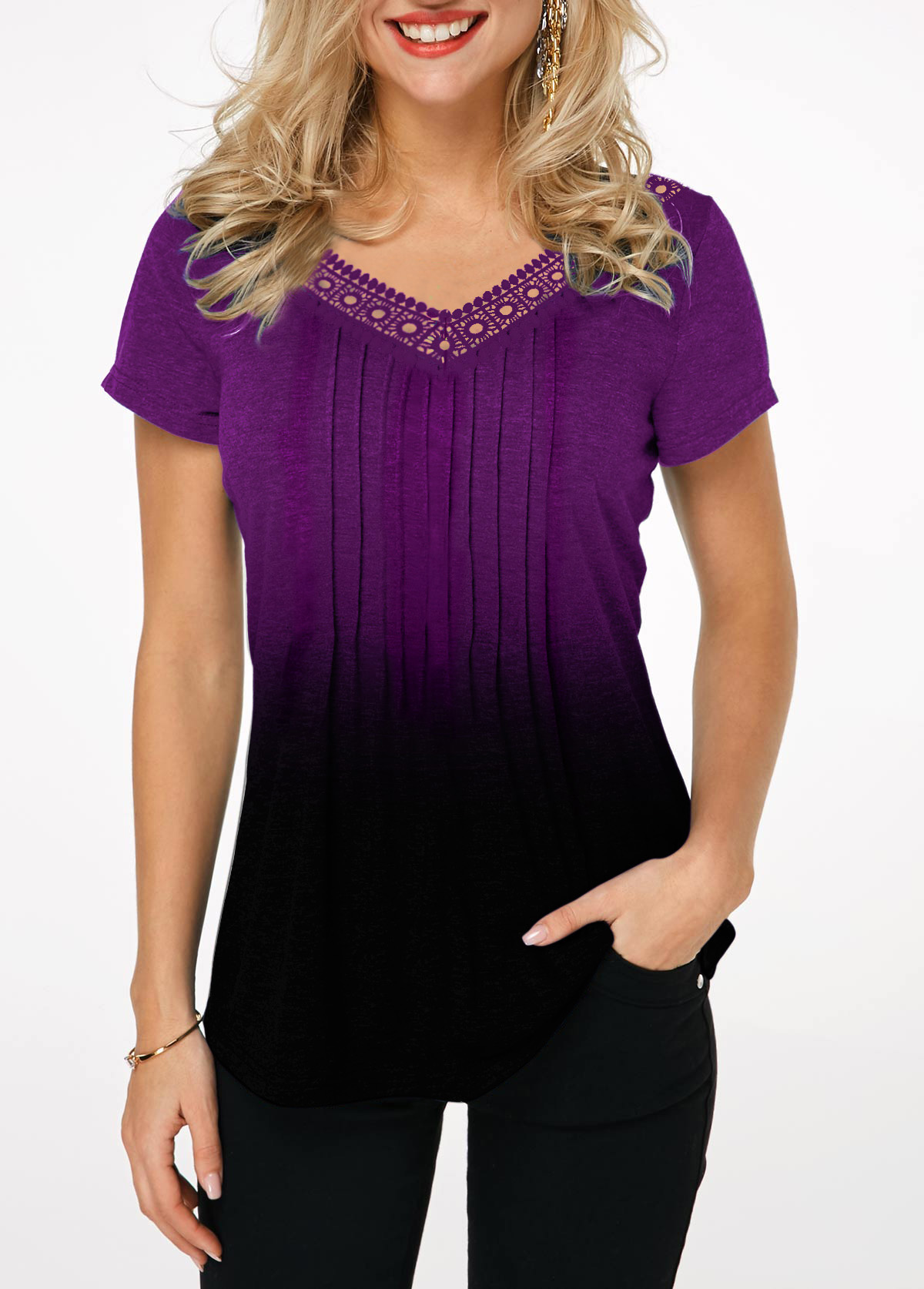 Lace Patchwork Crinkle Chest Gradient T Shirt