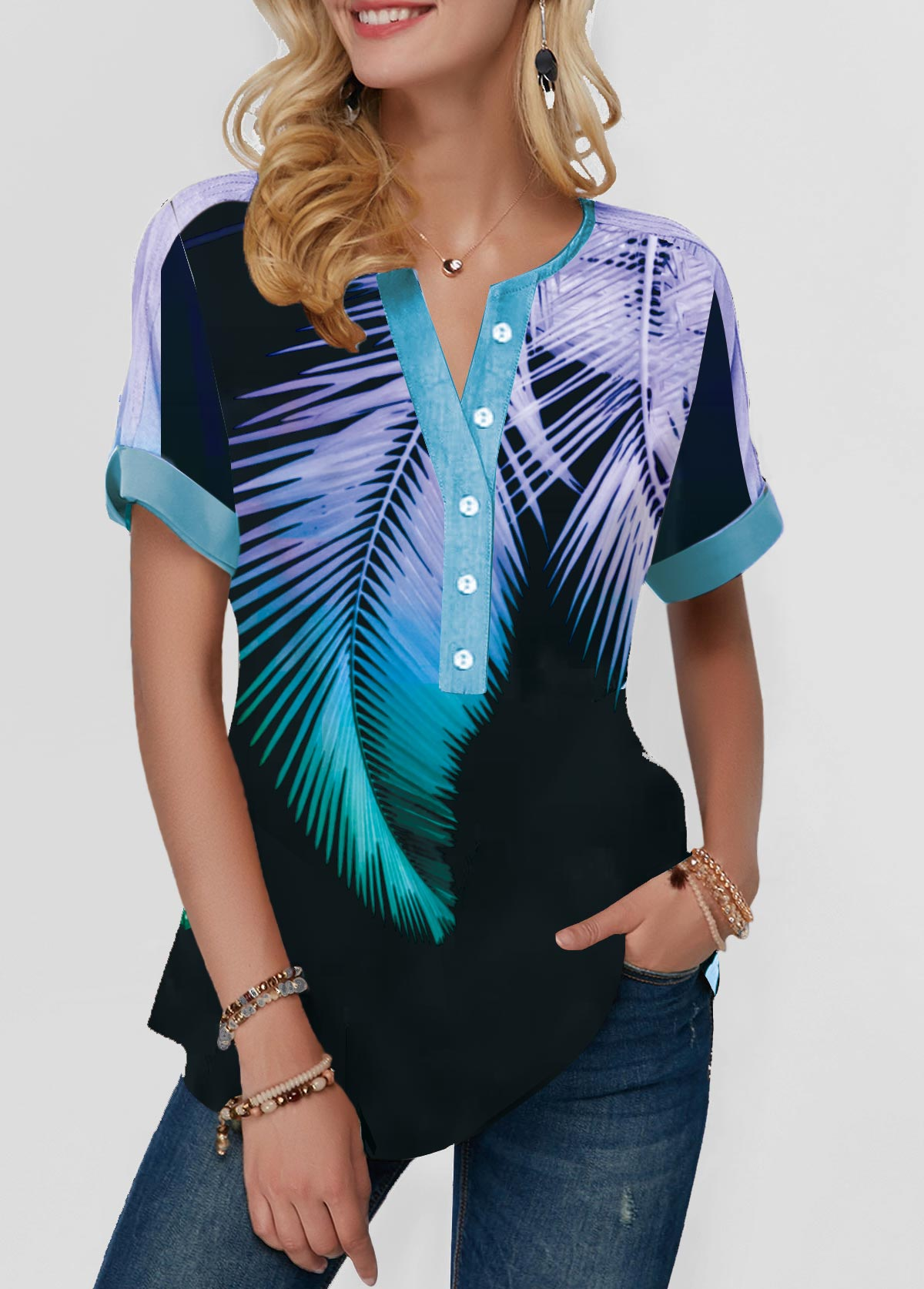 Short Sleeve Button Front Palm Leaf Print Blouse