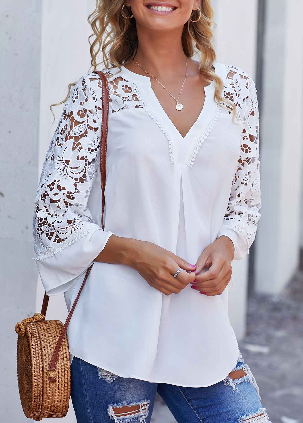 Split Neck Lace Panel Side Slit Blouse