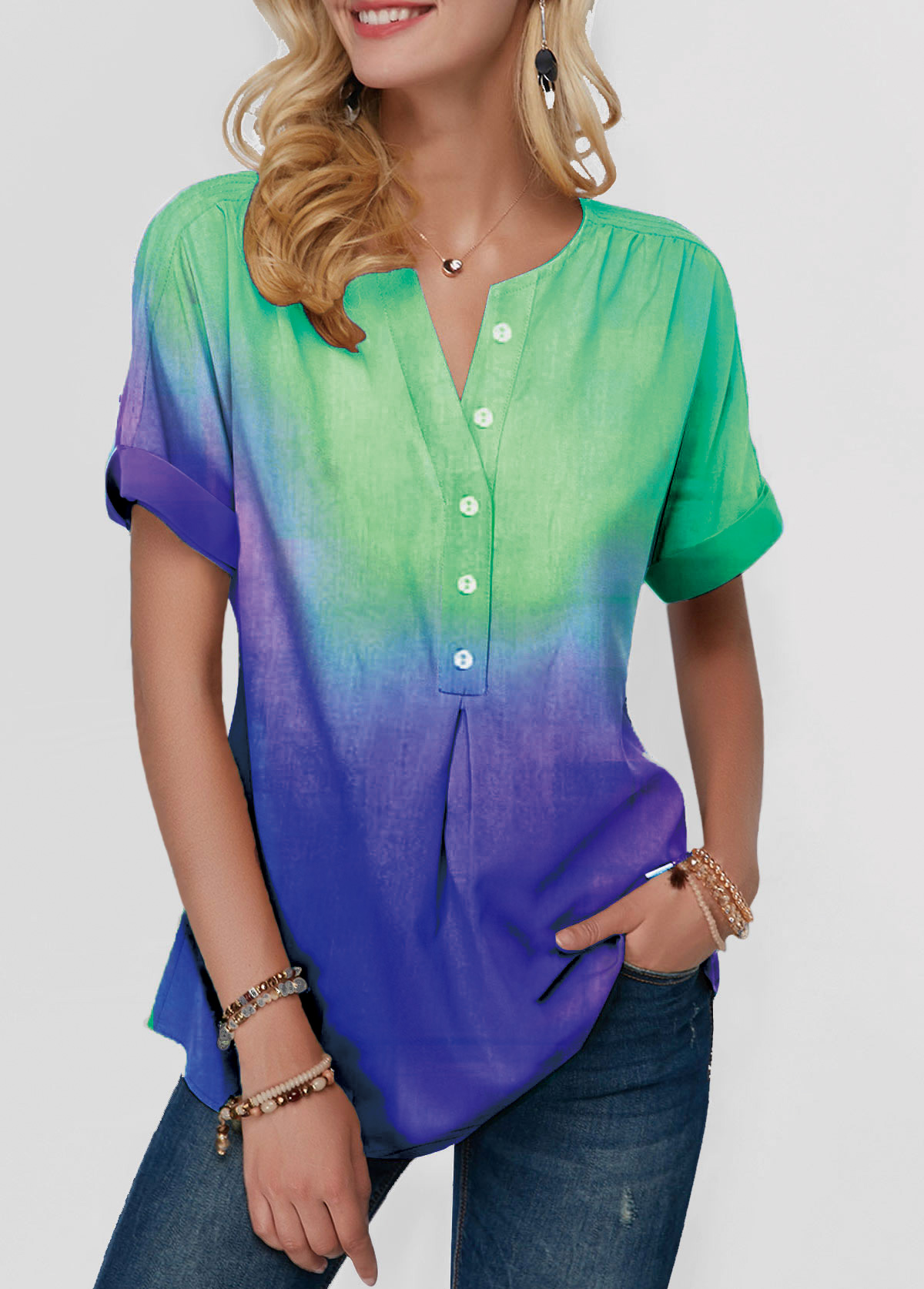 Button Detail Split Neck Dazzle Color Blouse