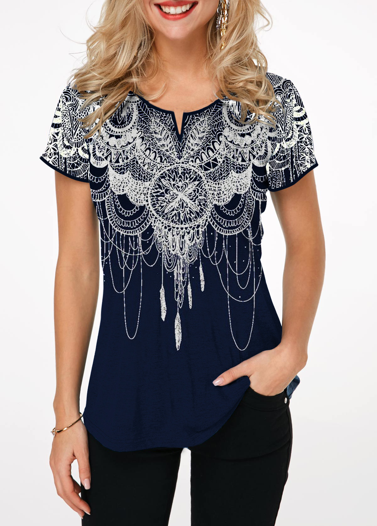 Split Neck Retro Print Short Sleeve T Shirt