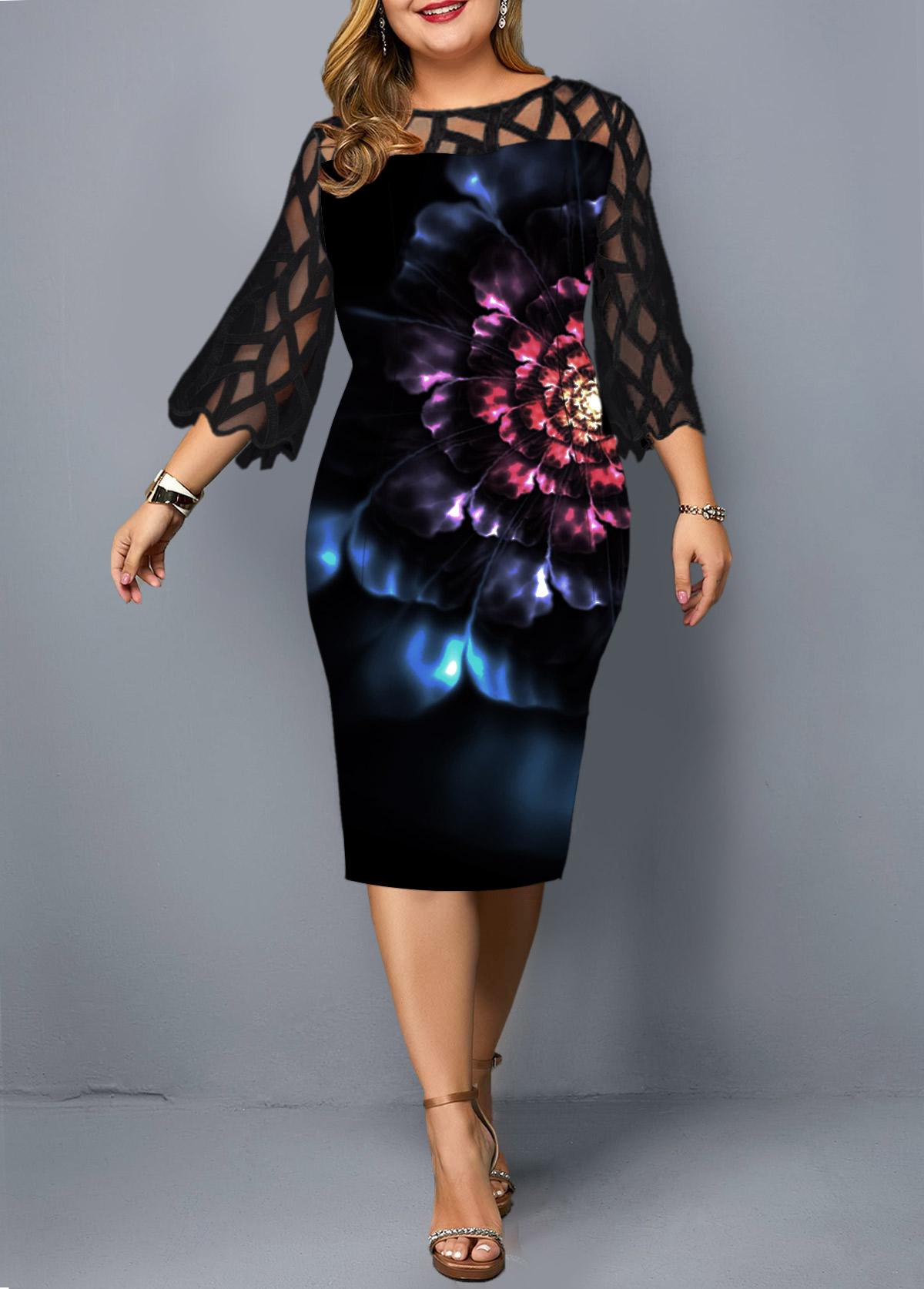 Lace Panel Flower Print Plus Size Sheath Dress