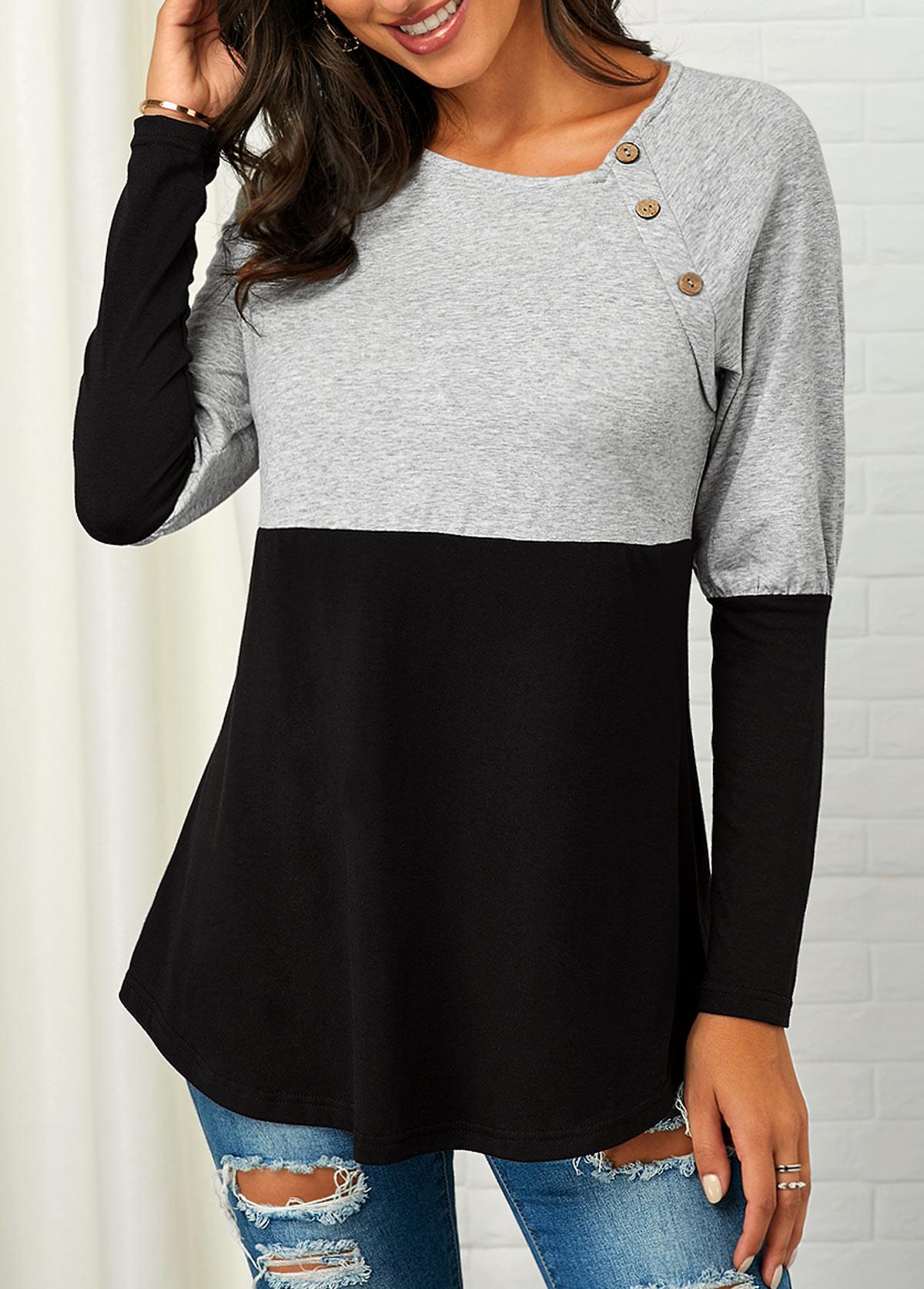 Button Detail Color Block Curved Hem Sweatshirt