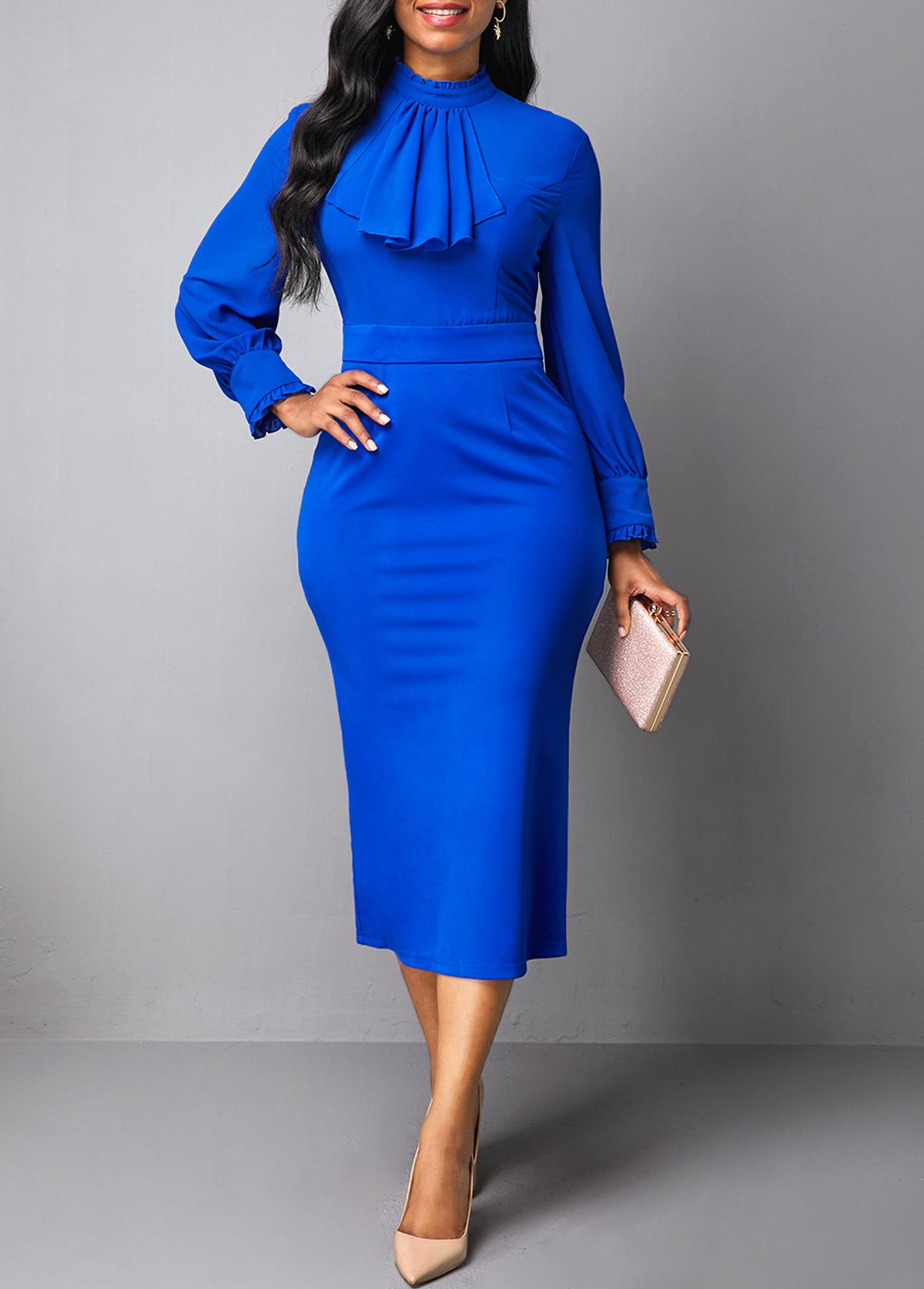 Back Slit Mock Neck Royal Blue Dress