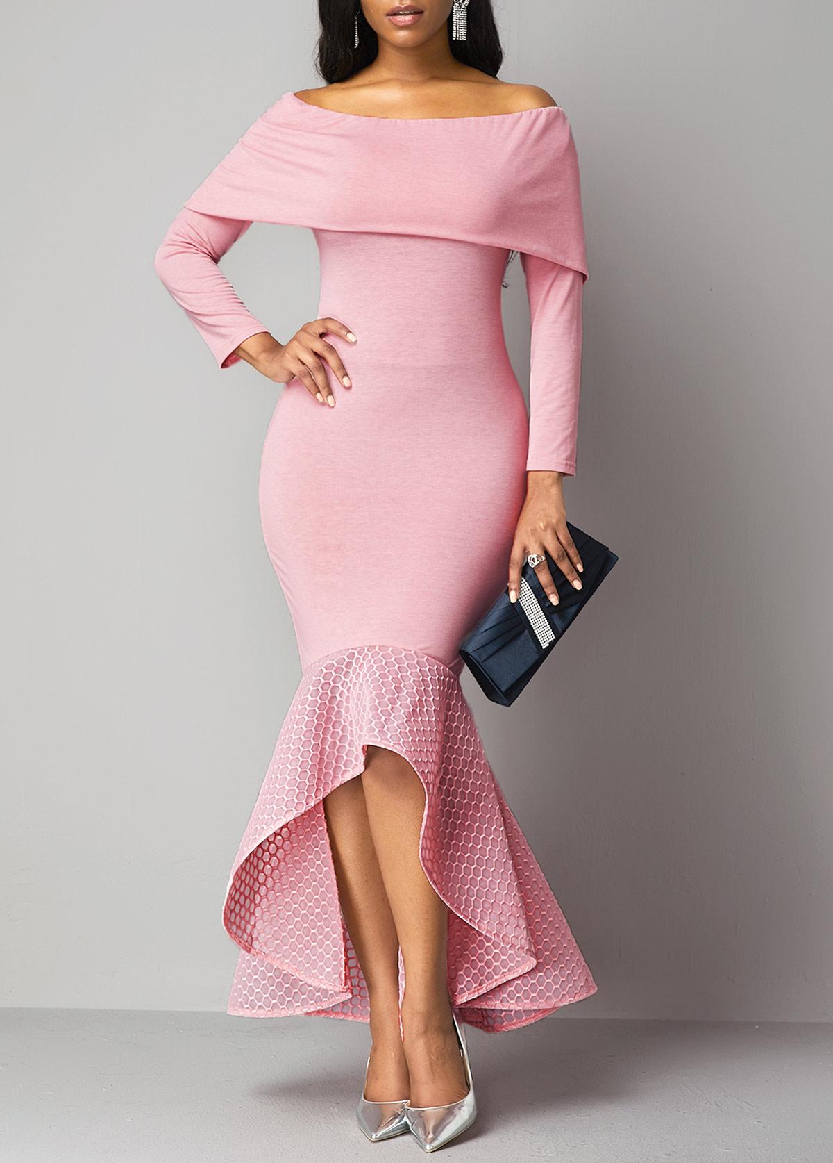 Lace Panel Zipper Back Overlay Dress