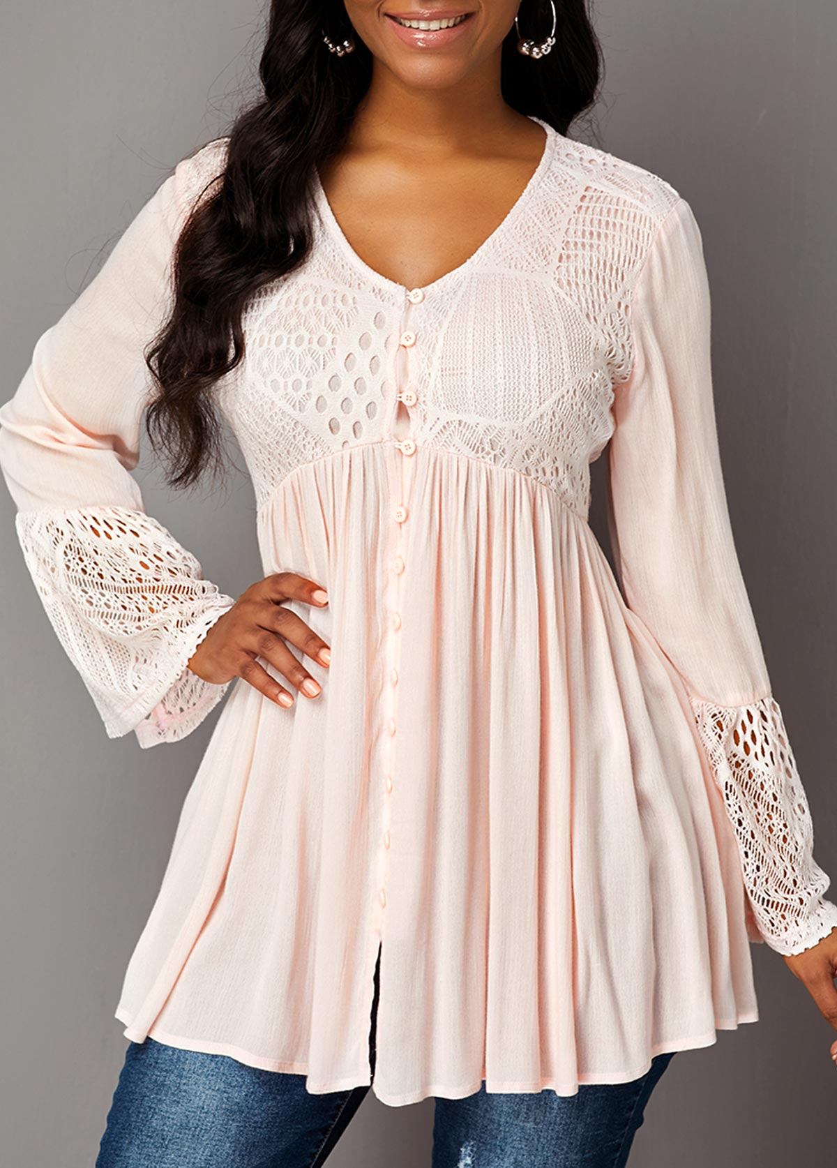 Flare Sleeve Lace Panel Button Up Blouse