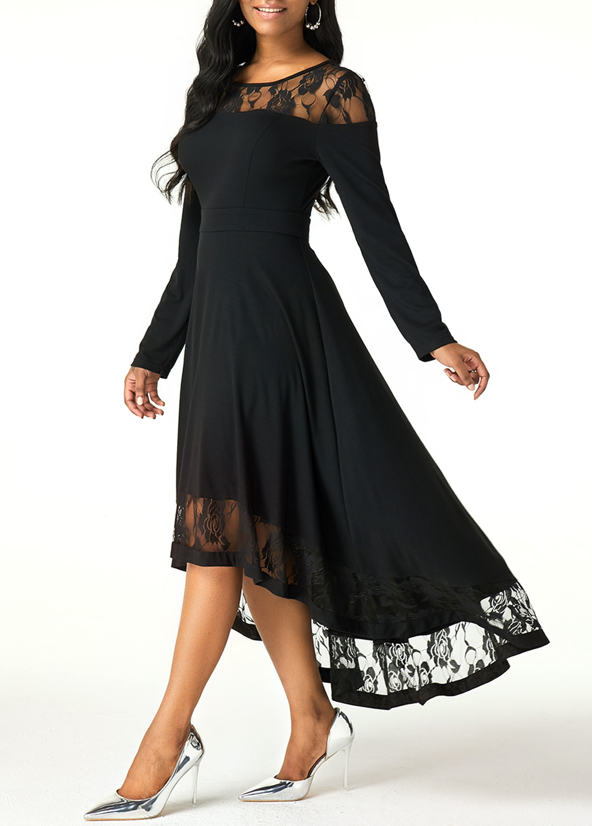 Lace Patchwork Long Sleeve High Low Dress