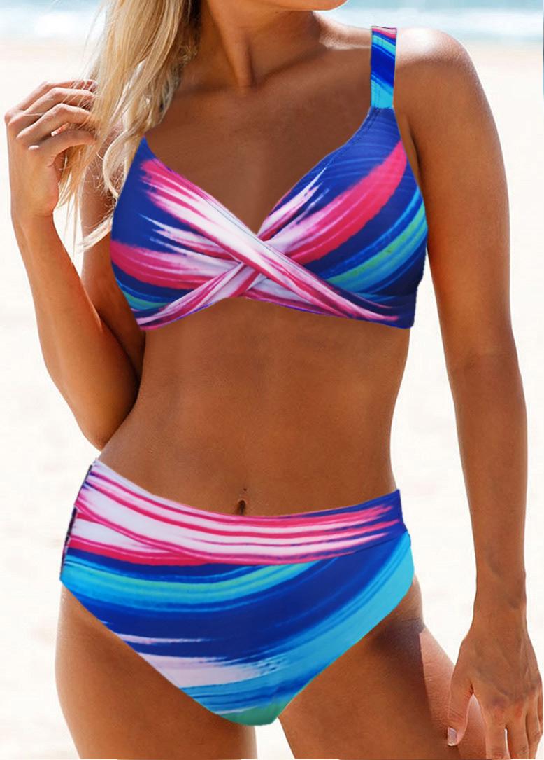 Cross Front High Waist Printed Bikini Set