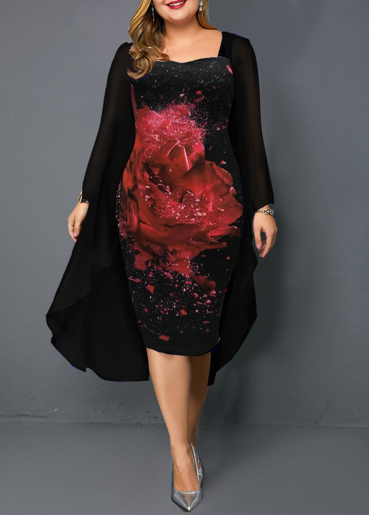 Plus Size Black Chiffon Cardigan and Flower Print Dress