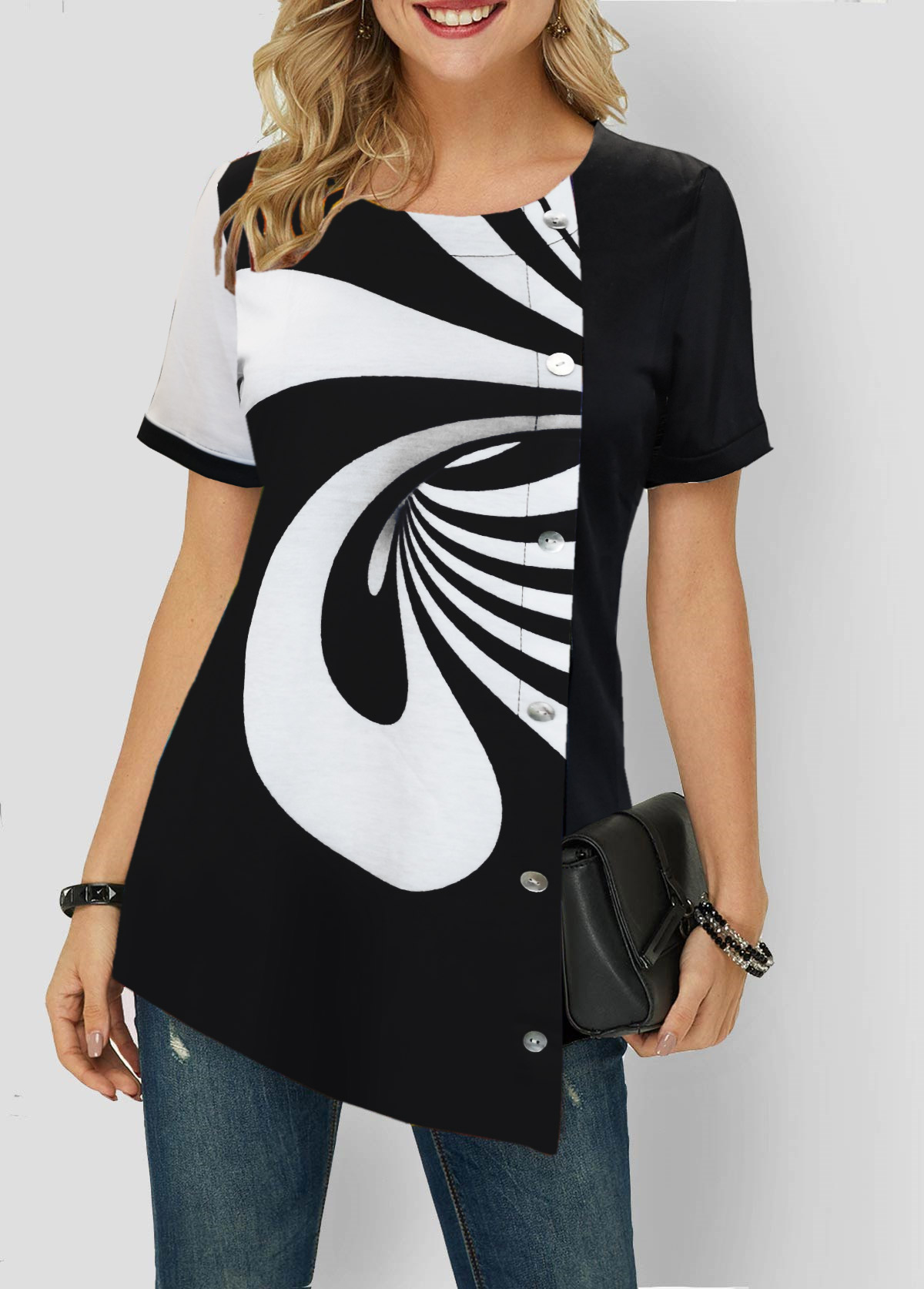 Printed Color Block Button Detail T Shirt