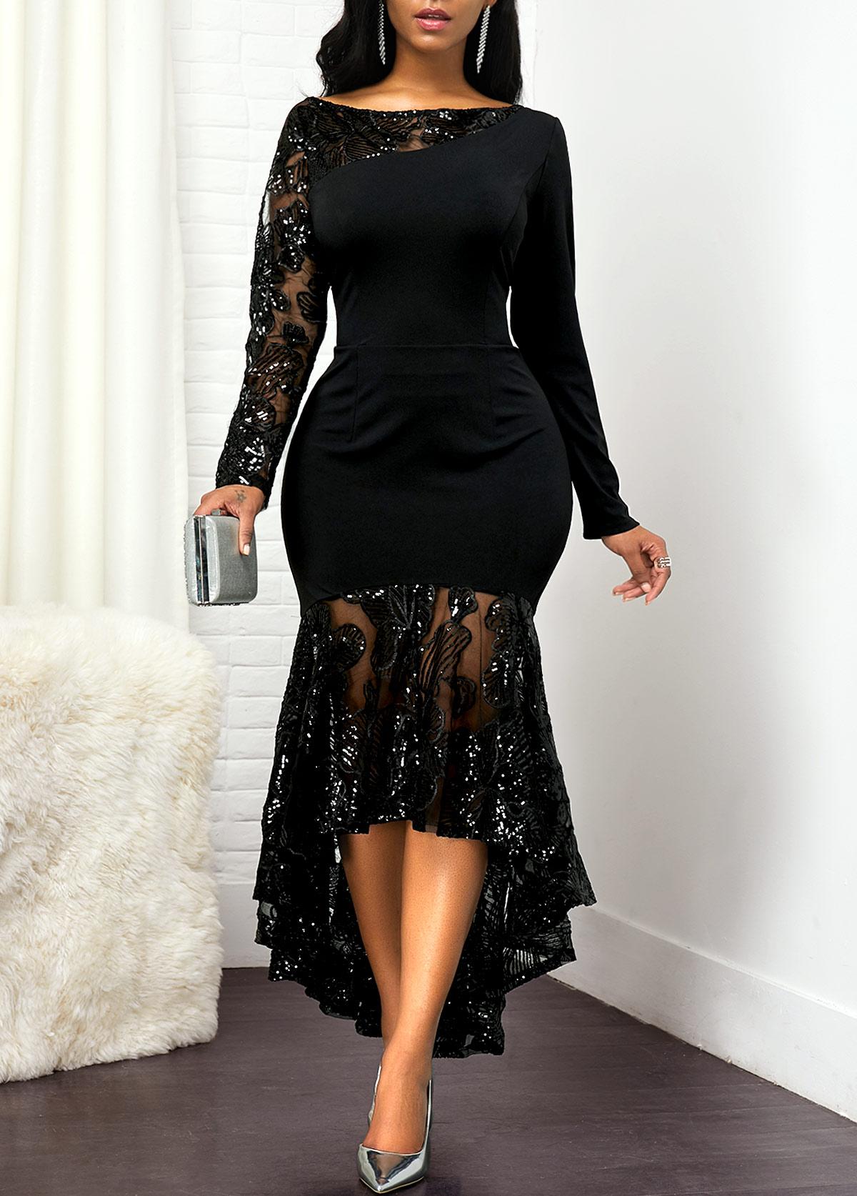 Back Zipper Lace Panel High Low Dress