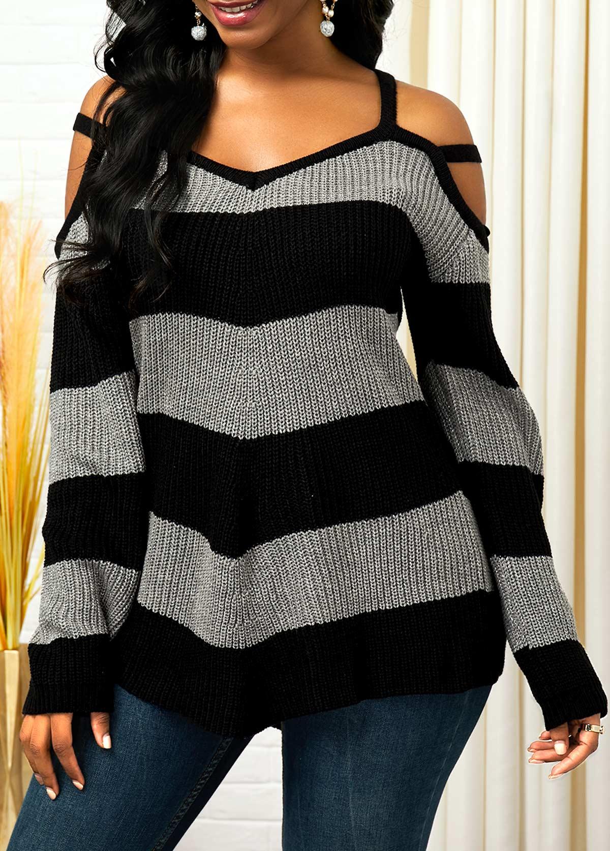 Cold Shoulder Color Block Long Sleeve Sweater