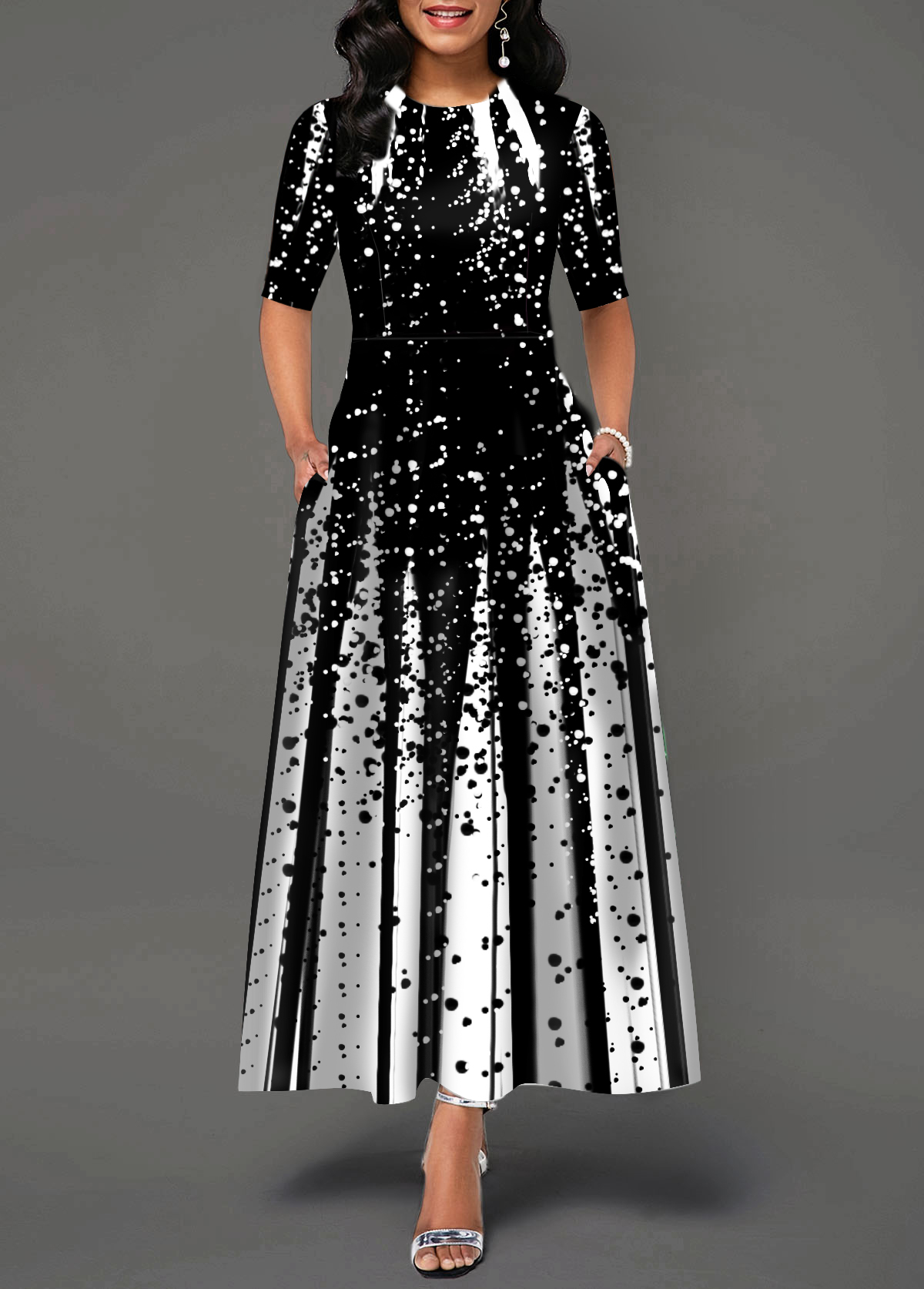 Half Sleeve Round Neck Printed Maxi Dress