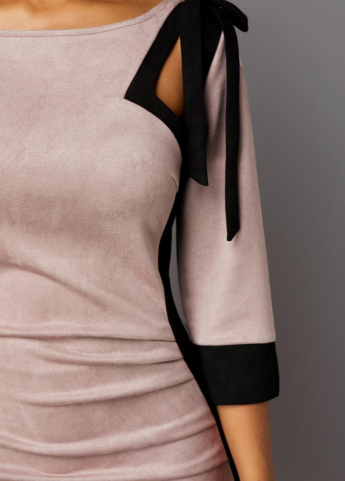 Tie Shoulder Three Quarter Sleeve Back Zipper Dress
